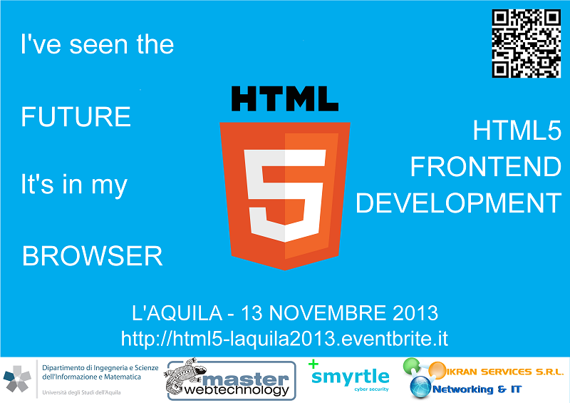 Live streaming and program of the HTML5 event #L'Aquila