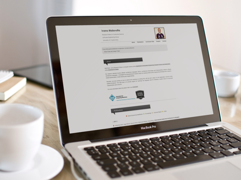 Ivano Malavolta Academic Website